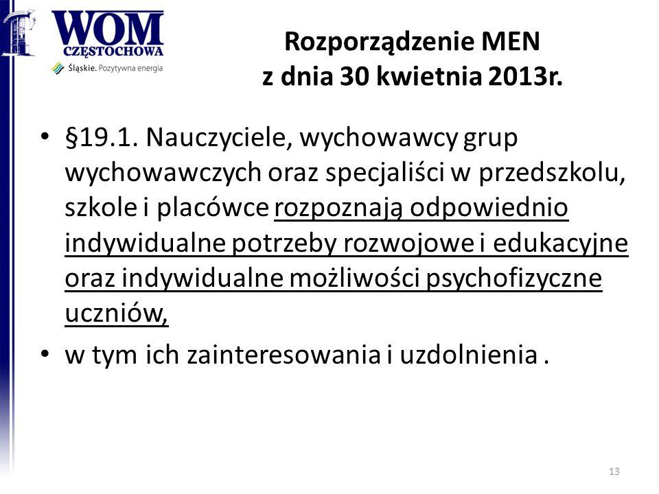 Rozporządzenie MEN z dnia 30 kwietnia 2013r. §19.1. Nauczyciele, wychowawcy grup wychowawczych oraz specjaliści w przedszkolu, szkole i placówce rozpo