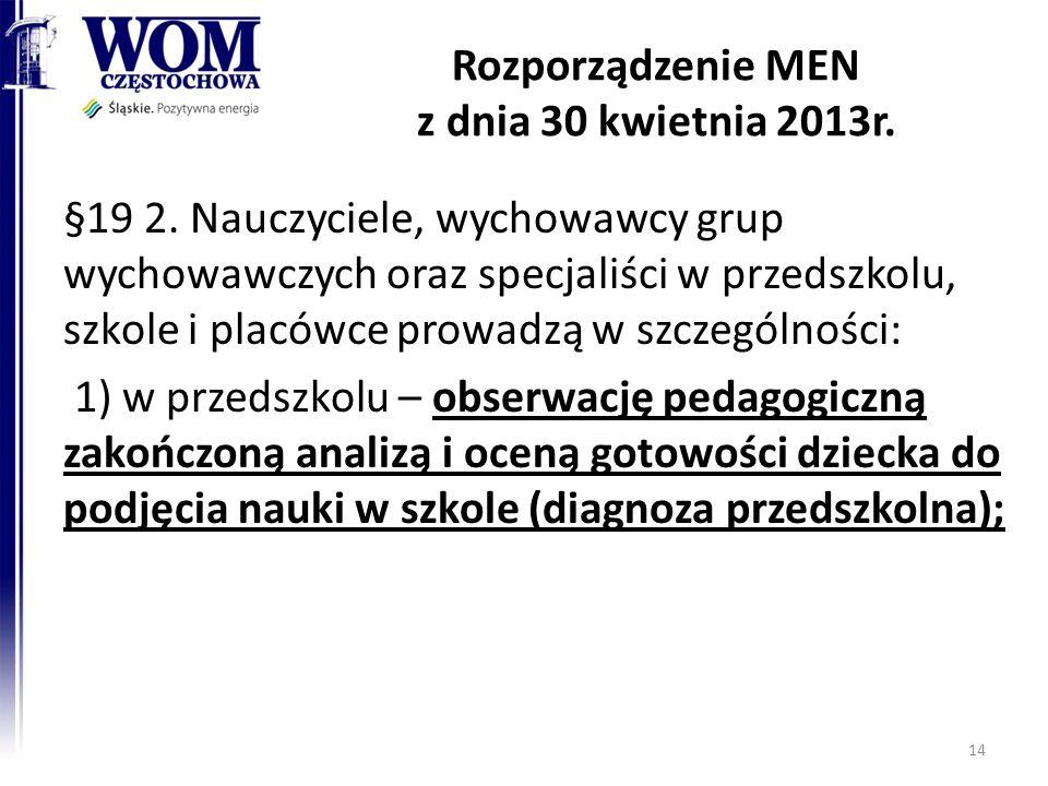 Rozporządzenie MEN z dnia 30 kwietnia 2013r. §19 2. Nauczyciele, wychowawcy grup wychowawczych oraz specjaliści w przedszkolu, szkole i placówce prowa