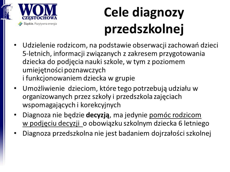 Cele diagnozy przedszkolnej Udzielenie rodzicom, na podstawie obserwacji zachowań dzieci 5-letnich, informacji związanych z zakresem przygotowania dzi