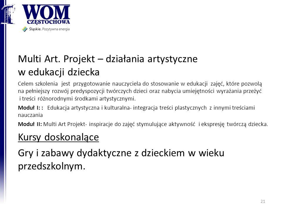 Multi Art. Projekt – działania artystyczne w edukacji dziecka Celem szkolenia jest przygotowanie nauczyciela do stosowanie w edukacji zajęć, które poz