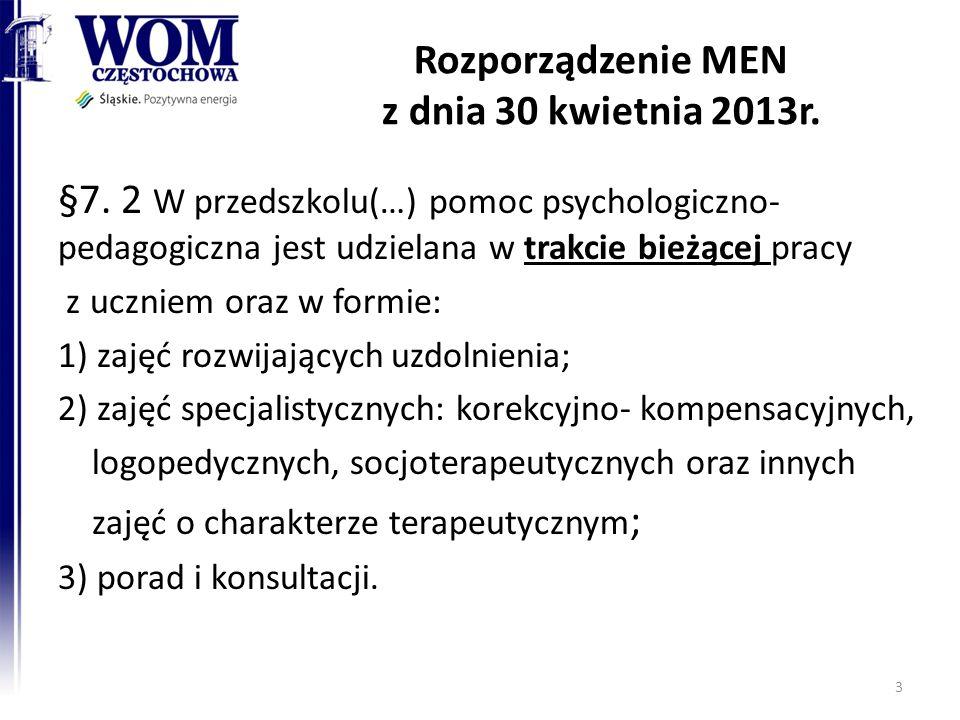 Rozporządzenie MEN z dnia 30 kwietnia 2013r. §7. 2 W przedszkolu(…) pomoc psychologiczno- pedagogiczna jest udzielana w trakcie bieżącej pracy z uczni