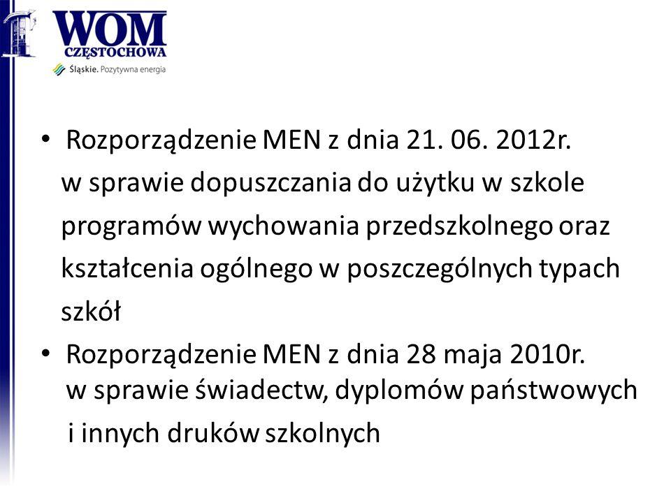 Rozporządzenie MEN z dnia 21. 06. 2012r. w sprawie dopuszczania do użytku w szkole programów wychowania przedszkolnego oraz kształcenia ogólnego w pos