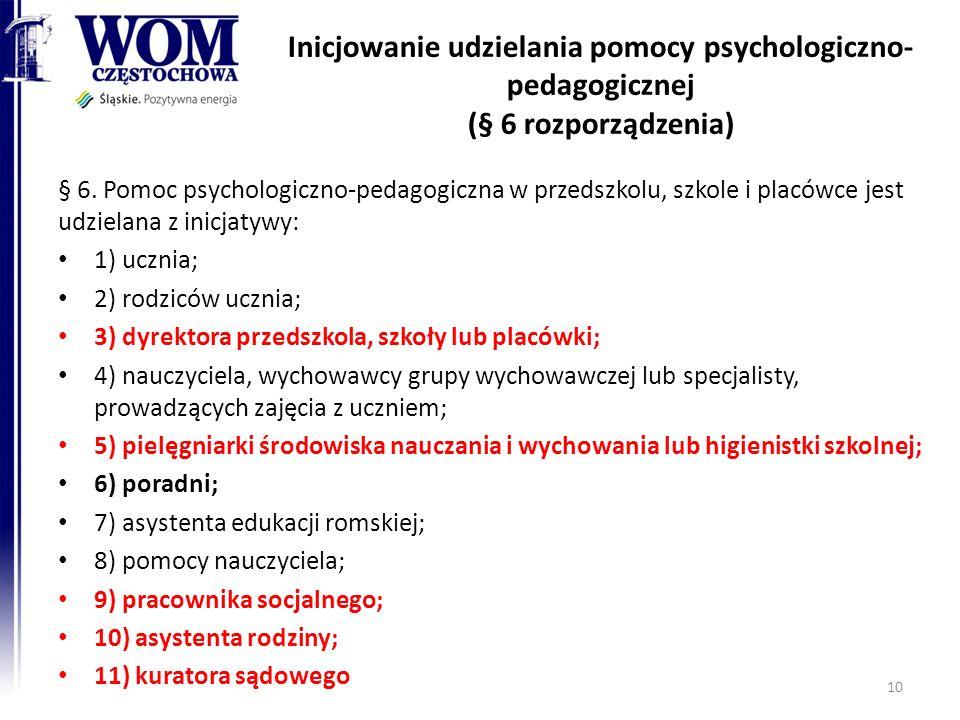 Inicjowanie udzielania pomocy psychologiczno- pedagogicznej (§ 6 rozporządzenia) § 6. Pomoc psychologiczno-pedagogiczna w przedszkolu, szkole i placów
