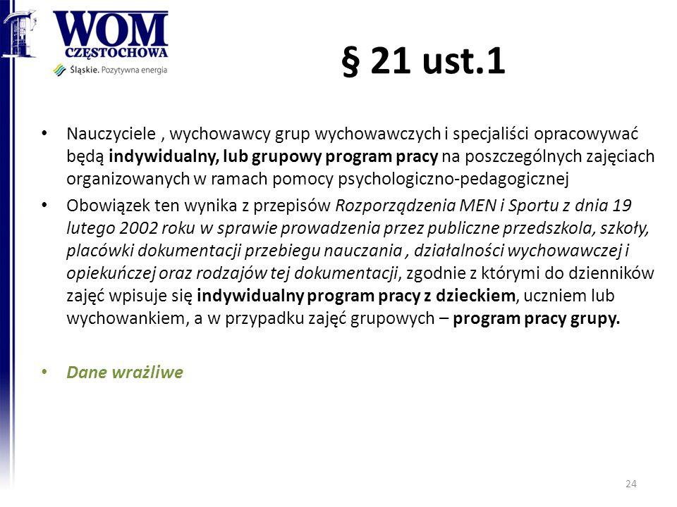 § 21 ust.1 Nauczyciele, wychowawcy grup wychowawczych i specjaliści opracowywać będą indywidualny, lub grupowy program pracy na poszczególnych zajęcia