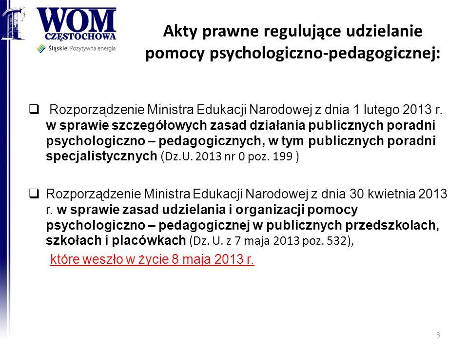 Akty prawne regulujące udzielanie pomocy psychologiczno-pedagogicznej: Rozporządzenie Ministra Edukacji Narodowej z dnia 1 lutego 2013 r. w sprawie sz