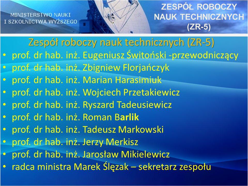 Zespół roboczy nauk technicznych (ZR-5) prof. dr hab. inż. Eugeniusz Świtoński -przewodniczący prof. dr hab. inż. Zbigniew Florjańczyk prof. dr hab. i
