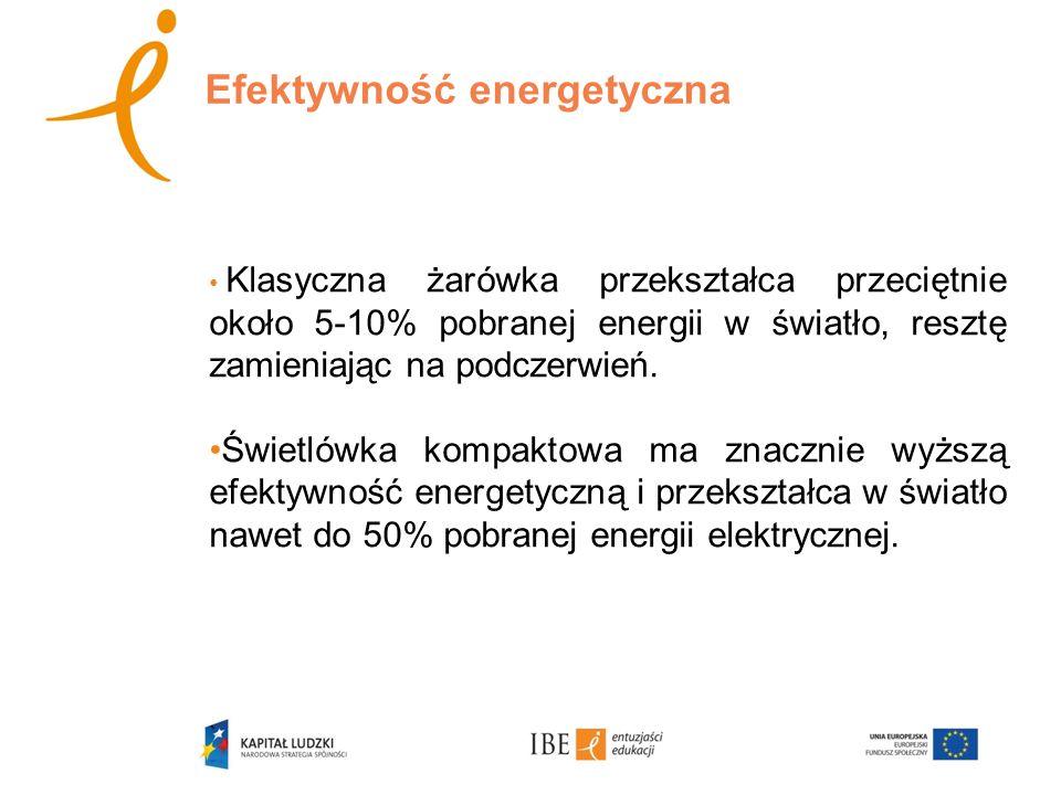 Efektywność energetyczna Klasyczna żarówka przekształca przeciętnie około 5-10% pobranej energii w światło, resztę zamieniając na podczerwień.