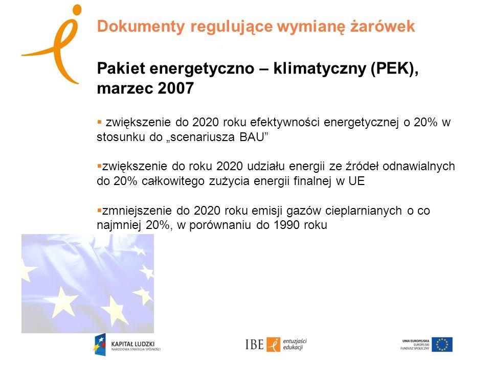 Dokumenty regulujące wymianę żarówek Pakiet energetyczno – klimatyczny (PEK), marzec 2007 zwiększenie do 2020 roku efektywności energetycznej o 20% w stosunku do scenariusza BAU zwiększenie do roku 2020 udziału energii ze źródeł odnawialnych do 20% całkowitego zużycia energii finalnej w UE zmniejszenie do 2020 roku emisji gazów cieplarnianych o co najmniej 20%, w porównaniu do 1990 roku