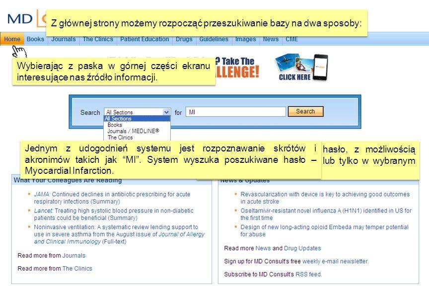Wynikiem wyszukiwania MI jest dotarcie do strony Recommended Resources.