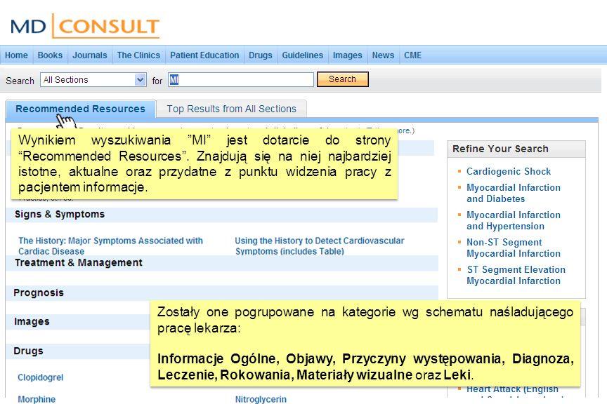 Tabulator Top Results from All Sections umożliwia dostęp do najistotniejszych informacji odnoszących się do wybranego zagadnienia.