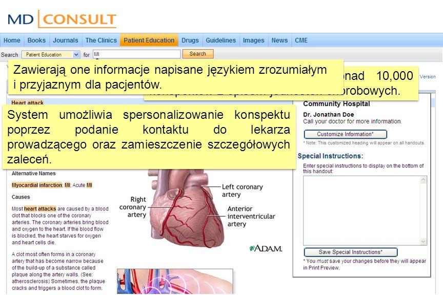Patient Education to zbiór ponad 10,000 konspektów z opisem jednostek chorobowych.
