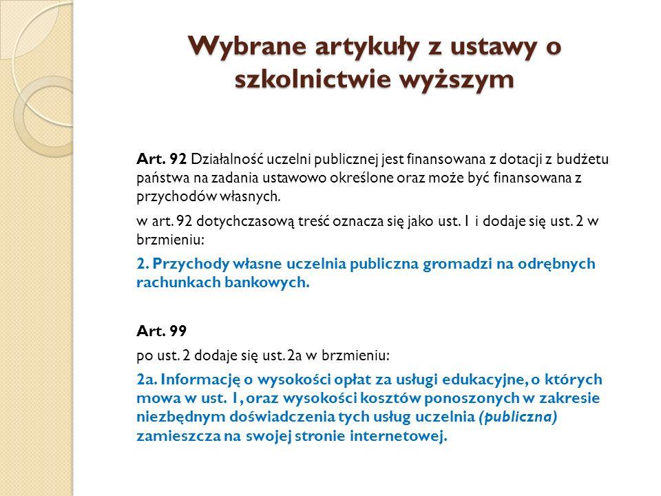 Wybrane artykuły z ustawy o szkolnictwie wyższym Art.