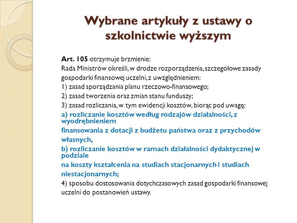 Wybrane artykuły z ustawy o szkolnictwie wyższym Art. 105 otrzymuje brzmienie: Rada Ministrów określi, w drodze rozporządzenia, szczegółowe zasady gos