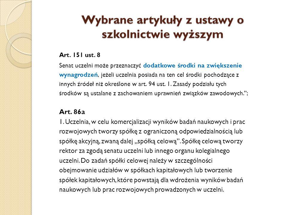 Wybrane artykuły z ustawy o szkolnictwie wyższym 2.