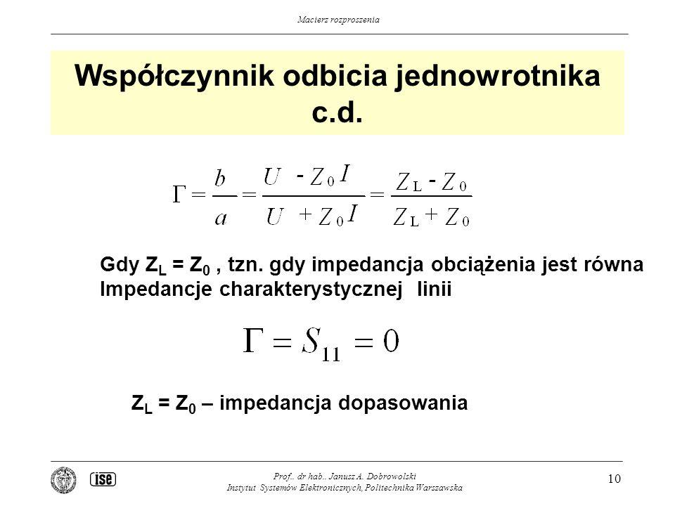 Macierz rozproszenia Współczynnik odbicia jednowrotnika c.d.