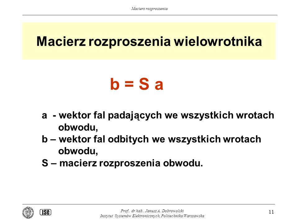 Macierz rozproszenia Macierz rozproszenia wielowrotnika Prof..