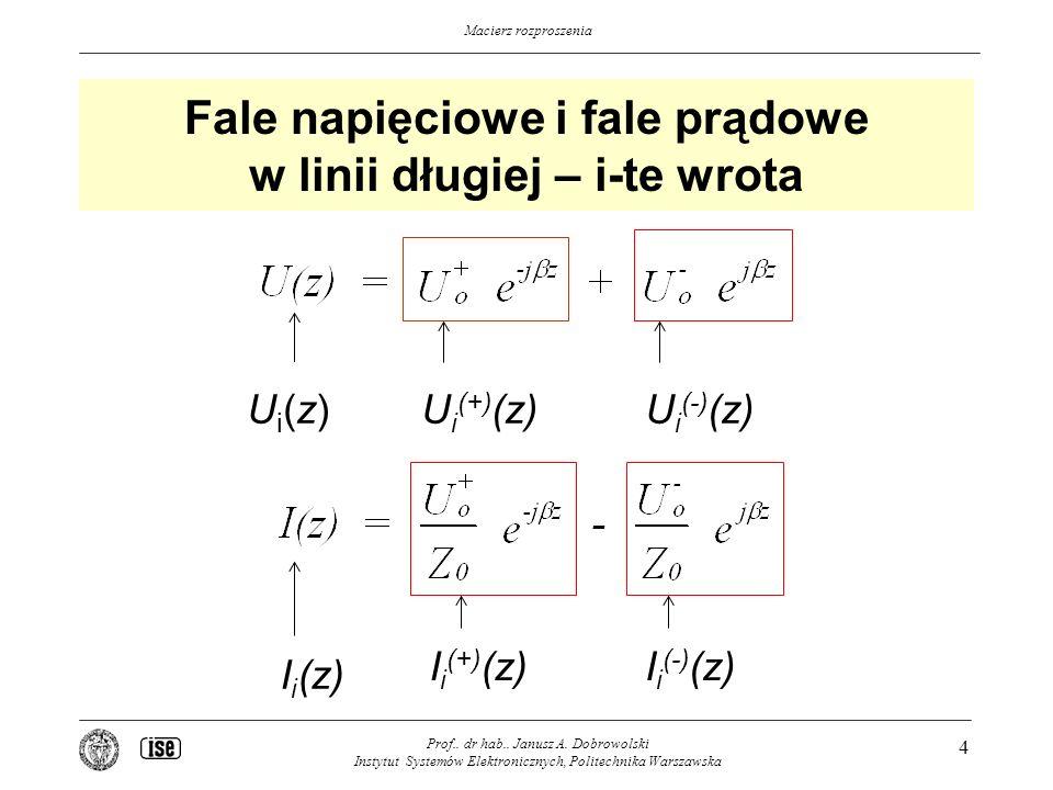 Macierz rozproszenia Fale napięciowe i fale prądowe w linii długiej – i-te wrota Prof..
