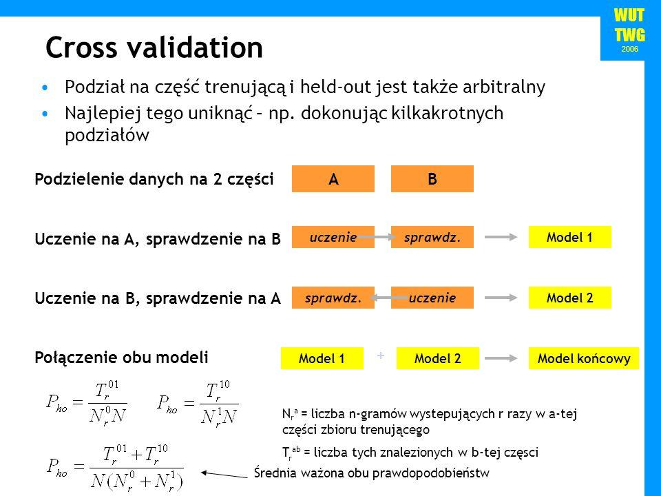 WUT TWG 2006 Cross validation Podział na część trenującą i held-out jest także arbitralny Najlepiej tego uniknąć – np. dokonując kilkakrotnych podział