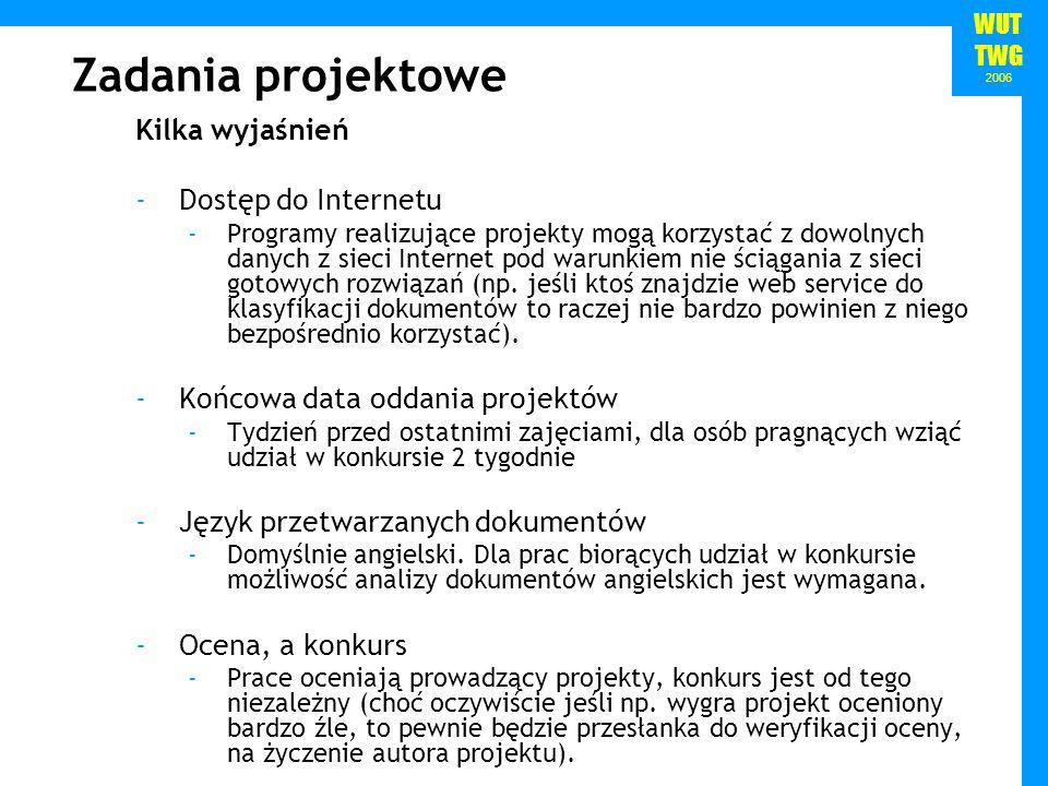 WUT TWG 2006 Zadania projektowe Kilka wyjaśnień -Dostęp do Internetu -Programy realizujące projekty mogą korzystać z dowolnych danych z sieci Internet