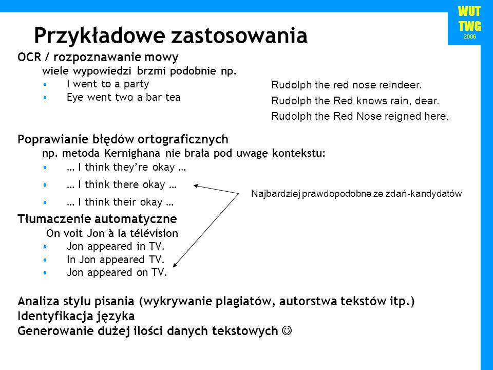 WUT TWG 2006 Jak obliczyć P(w 1:n ).