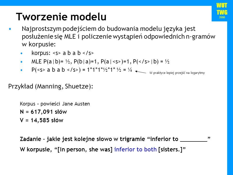 WUT TWG 2006 Tworzenie modelu Najprostszym podejściem do budowania modelu języka jest posłużenie się MLE i policzenie wystąpień odpowiednich n-gramów