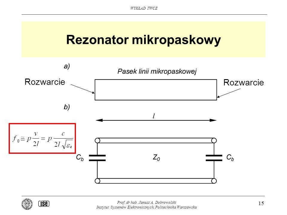 WYKŁAD TWCZ Prof. dr hab. Janusz A. Dobrowolski Instytut Systemów Elektronicznych, Politechnika Warszawska 15 Rezonator mikropaskowy Rozwarcie