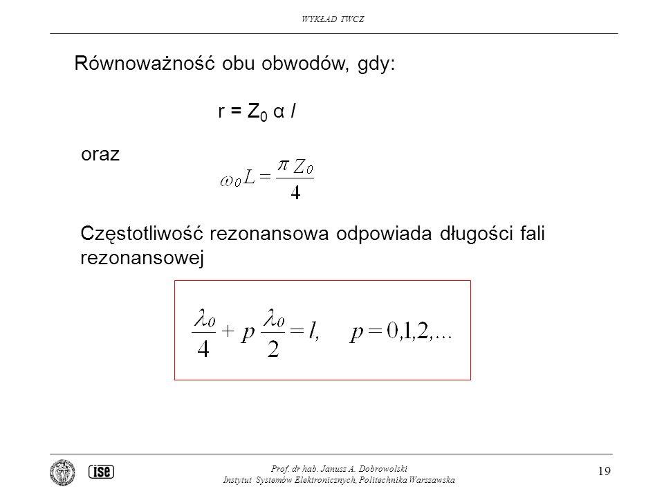 WYKŁAD TWCZ Prof. dr hab. Janusz A. Dobrowolski Instytut Systemów Elektronicznych, Politechnika Warszawska 19 Równoważność obu obwodów, gdy: r = Z 0 α