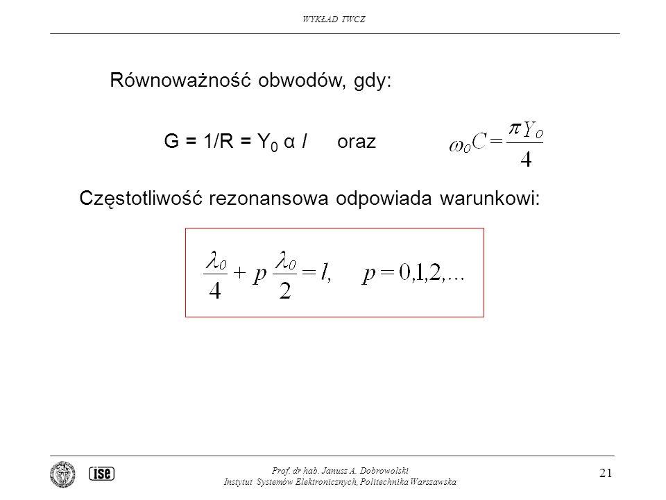 WYKŁAD TWCZ Prof. dr hab. Janusz A. Dobrowolski Instytut Systemów Elektronicznych, Politechnika Warszawska 21 Równoważność obwodów, gdy: G = 1/R = Y 0