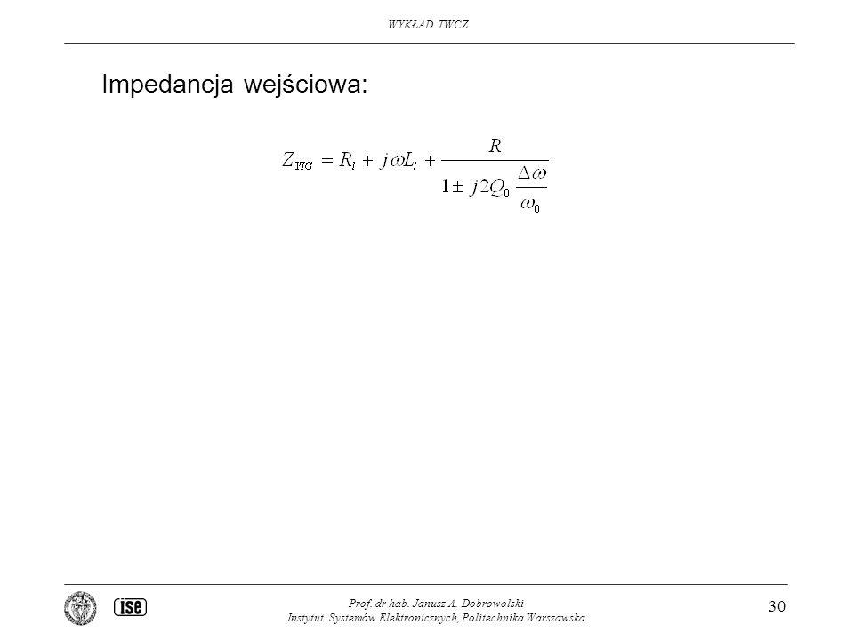 WYKŁAD TWCZ Prof. dr hab. Janusz A. Dobrowolski Instytut Systemów Elektronicznych, Politechnika Warszawska 30 Impedancja wejściowa: