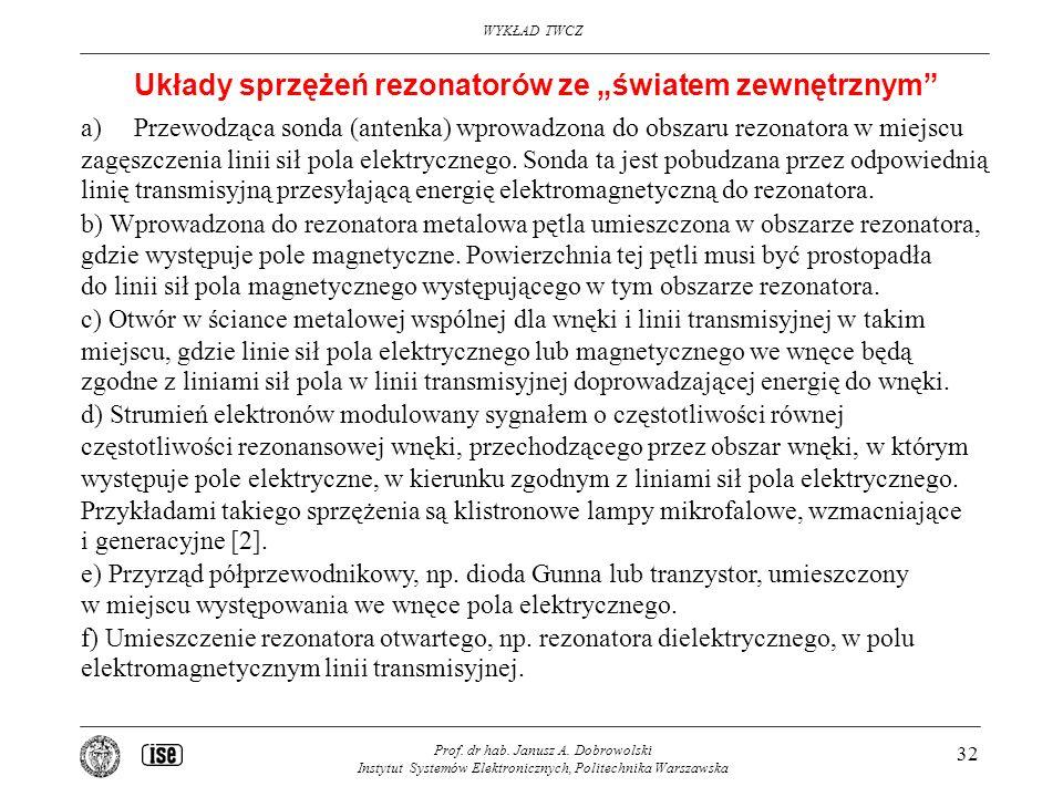 WYKŁAD TWCZ Prof. dr hab. Janusz A. Dobrowolski Instytut Systemów Elektronicznych, Politechnika Warszawska 32 Układy sprzężeń rezonatorów ze światem z