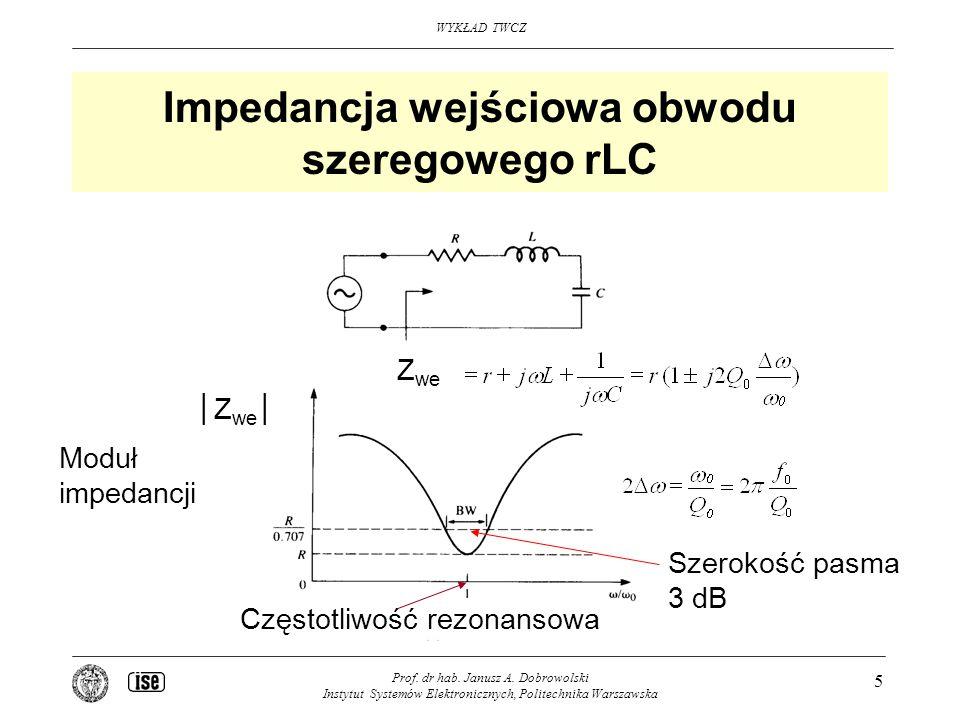 WYKŁAD TWCZ Prof. dr hab. Janusz A. Dobrowolski Instytut Systemów Elektronicznych, Politechnika Warszawska 5 Impedancja wejściowa obwodu szeregowego r