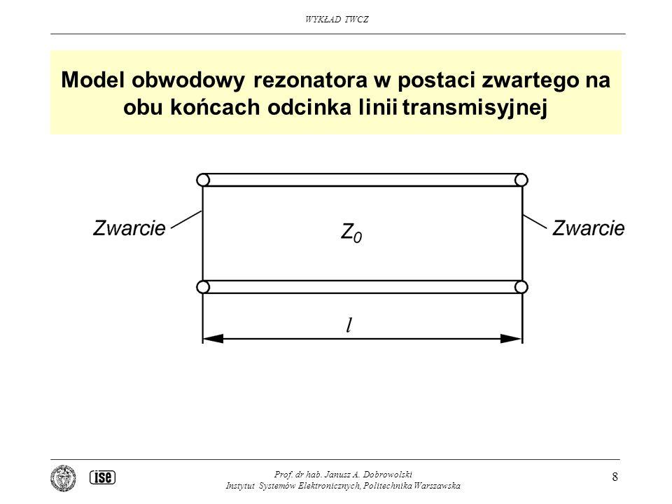 WYKŁAD TWCZ Prof. dr hab. Janusz A. Dobrowolski Instytut Systemów Elektronicznych, Politechnika Warszawska 8 Model obwodowy rezonatora w postaci zwart
