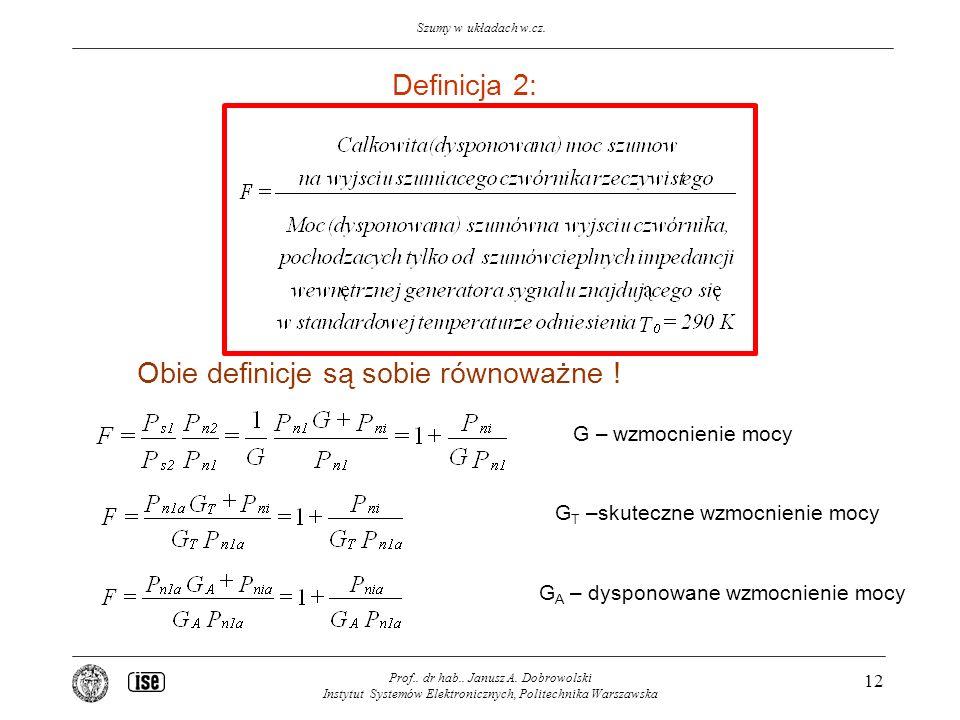 Szumy w układach w.cz. Prof.. dr hab.. Janusz A. Dobrowolski Instytut Systemów Elektronicznych, Politechnika Warszawska 12 Definicja 2: Obie definicje