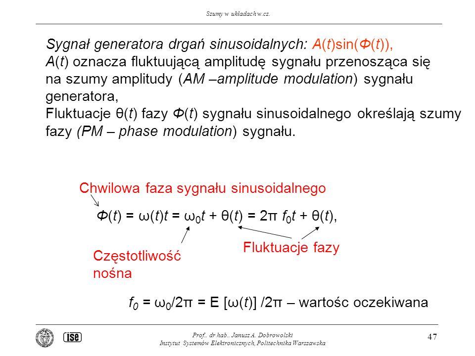 Szumy w układach w.cz. Prof.. dr hab.. Janusz A. Dobrowolski Instytut Systemów Elektronicznych, Politechnika Warszawska 47 Φ(t) = ω(t)t = ω 0 t + θ(t)