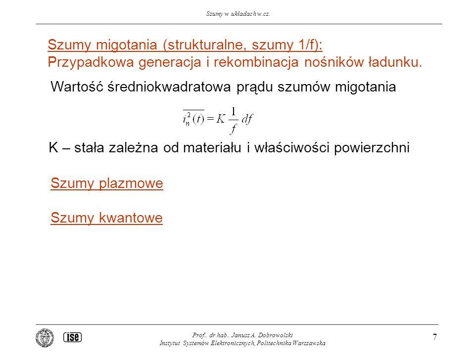 Szumy w układach w.cz. Prof.. dr hab.. Janusz A. Dobrowolski Instytut Systemów Elektronicznych, Politechnika Warszawska 7 Szumy migotania (strukturaln