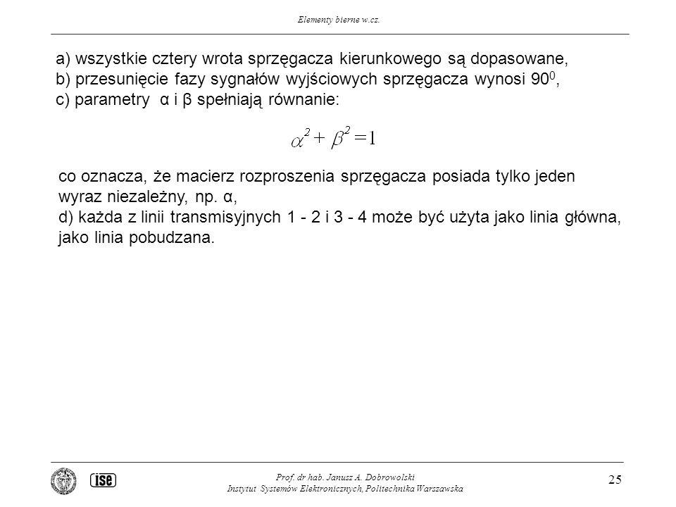 Elementy bierne w.cz. Prof. dr hab. Janusz A. Dobrowolski Instytut Systemów Elektronicznych, Politechnika Warszawska 25 a) wszystkie cztery wrota sprz