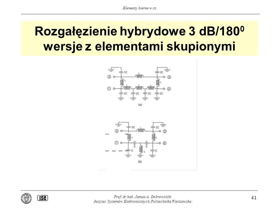 Elementy bierne w.cz. Prof. dr hab. Janusz A. Dobrowolski Instytut Systemów Elektronicznych, Politechnika Warszawska 41 Rozgałęzienie hybrydowe 3 dB/1