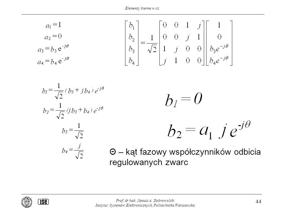Elementy bierne w.cz. Prof. dr hab. Janusz A. Dobrowolski Instytut Systemów Elektronicznych, Politechnika Warszawska 44 Θ – kąt fazowy współczynników