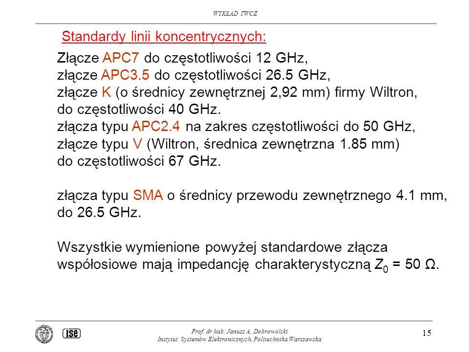 WYKŁAD TWCZ Prof. dr hab. Janusz A. Dobrowolski Instytut Systemów Elektronicznych, Politechnika Warszawska 15 Złącze APC7 do częstotliwości 12 GHz, zł