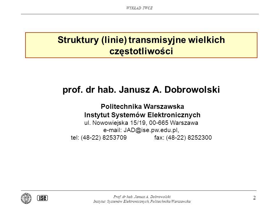 WYKŁAD TWCZ Prof. dr hab. Janusz A. Dobrowolski Instytut Systemów Elektronicznych, Politechnika Warszawska 2 Struktury (linie) transmisyjne wielkich c