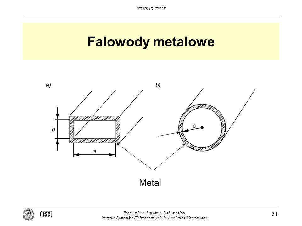 WYKŁAD TWCZ Prof. dr hab. Janusz A. Dobrowolski Instytut Systemów Elektronicznych, Politechnika Warszawska 31 Falowody metalowe Metal