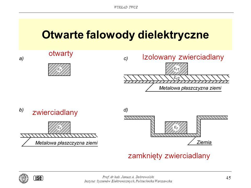 WYKŁAD TWCZ Prof. dr hab. Janusz A. Dobrowolski Instytut Systemów Elektronicznych, Politechnika Warszawska 45 Otwarte falowody dielektryczne Izolowany