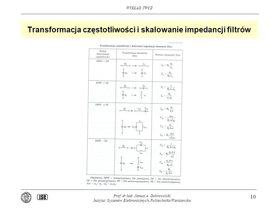 WYKŁAD TWCZ Prof. dr hab. Janusz A. Dobrowolski Instytut Systemów Elektronicznych, Politechnika Warszawska 10 Transformacja częstotliwości i skalowani