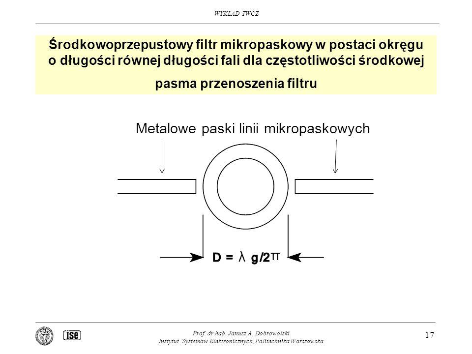 WYKŁAD TWCZ Prof. dr hab. Janusz A. Dobrowolski Instytut Systemów Elektronicznych, Politechnika Warszawska 17 Środkowoprzepustowy filtr mikropaskowy w