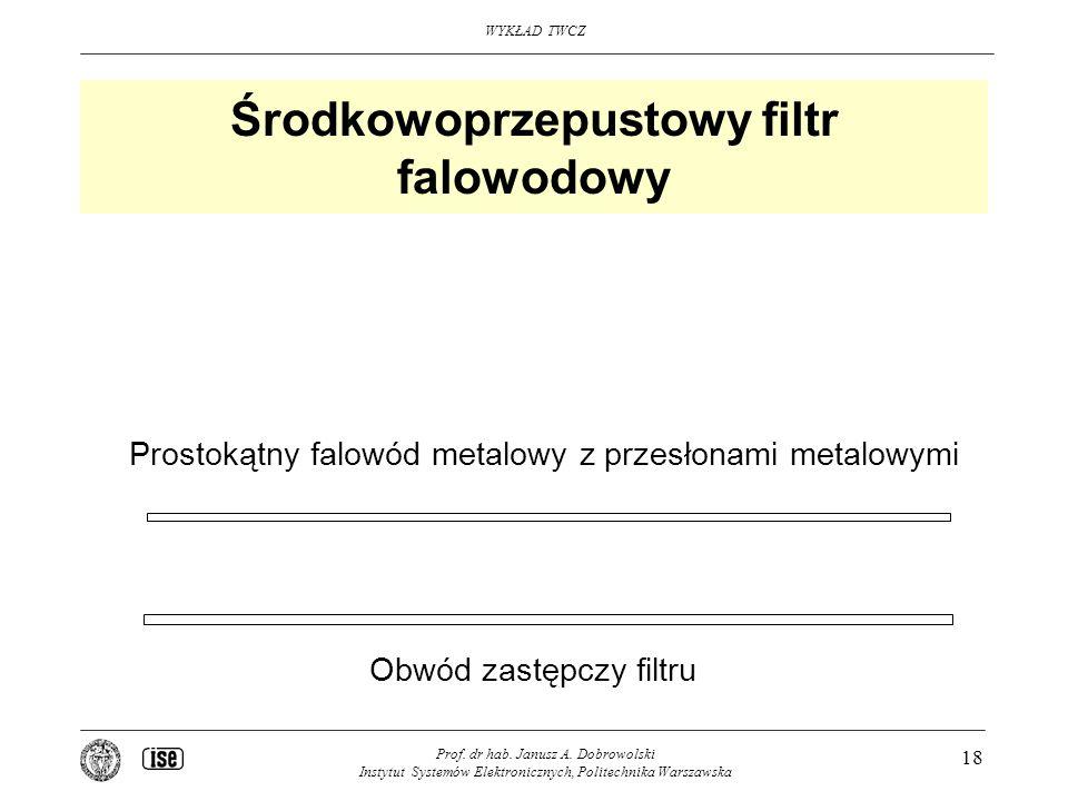WYKŁAD TWCZ Prof. dr hab. Janusz A. Dobrowolski Instytut Systemów Elektronicznych, Politechnika Warszawska 18 Środkowoprzepustowy filtr falowodowy Pro