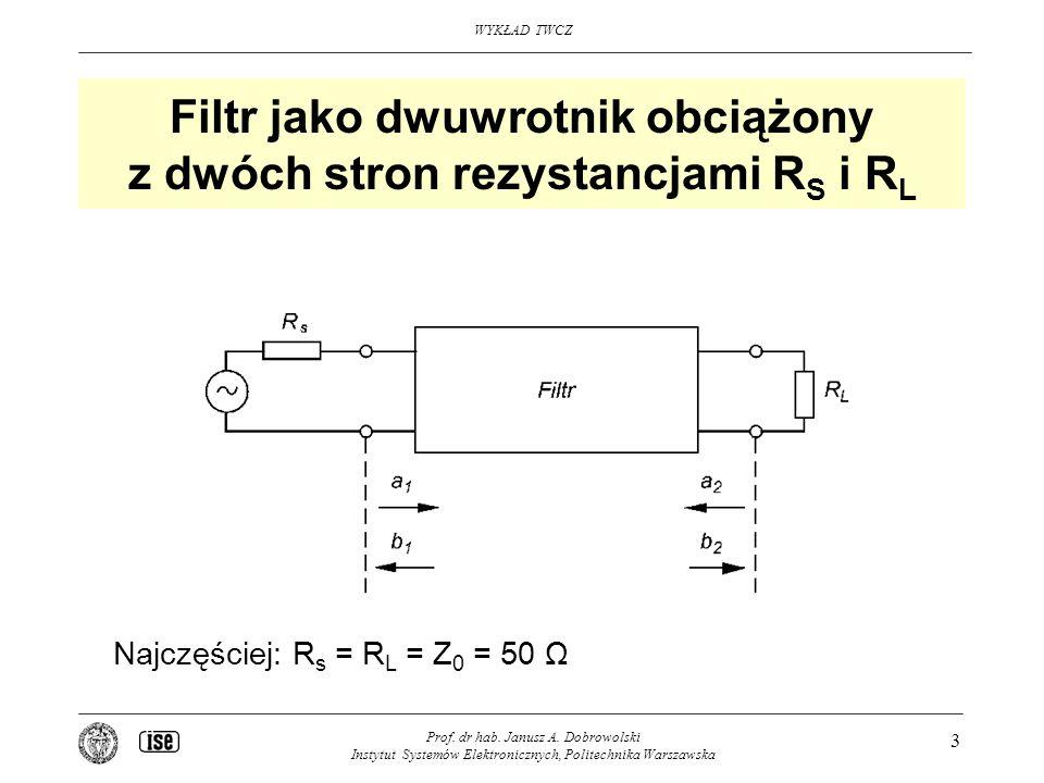 WYKŁAD TWCZ Prof. dr hab. Janusz A. Dobrowolski Instytut Systemów Elektronicznych, Politechnika Warszawska 3 Filtr jako dwuwrotnik obciążony z dwóch s