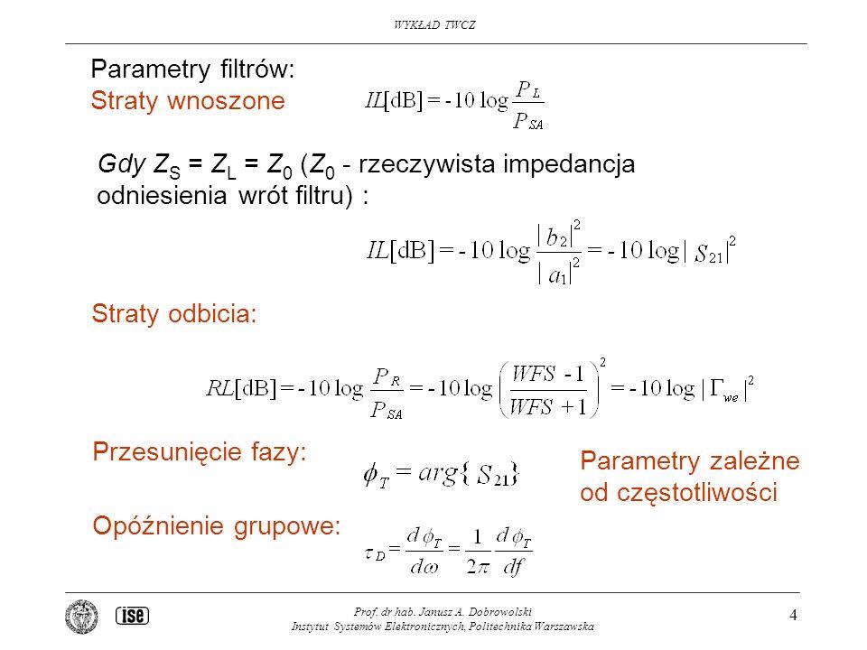 WYKŁAD TWCZ Prof. dr hab. Janusz A. Dobrowolski Instytut Systemów Elektronicznych, Politechnika Warszawska 4 Parametry filtrów: Straty wnoszone Straty