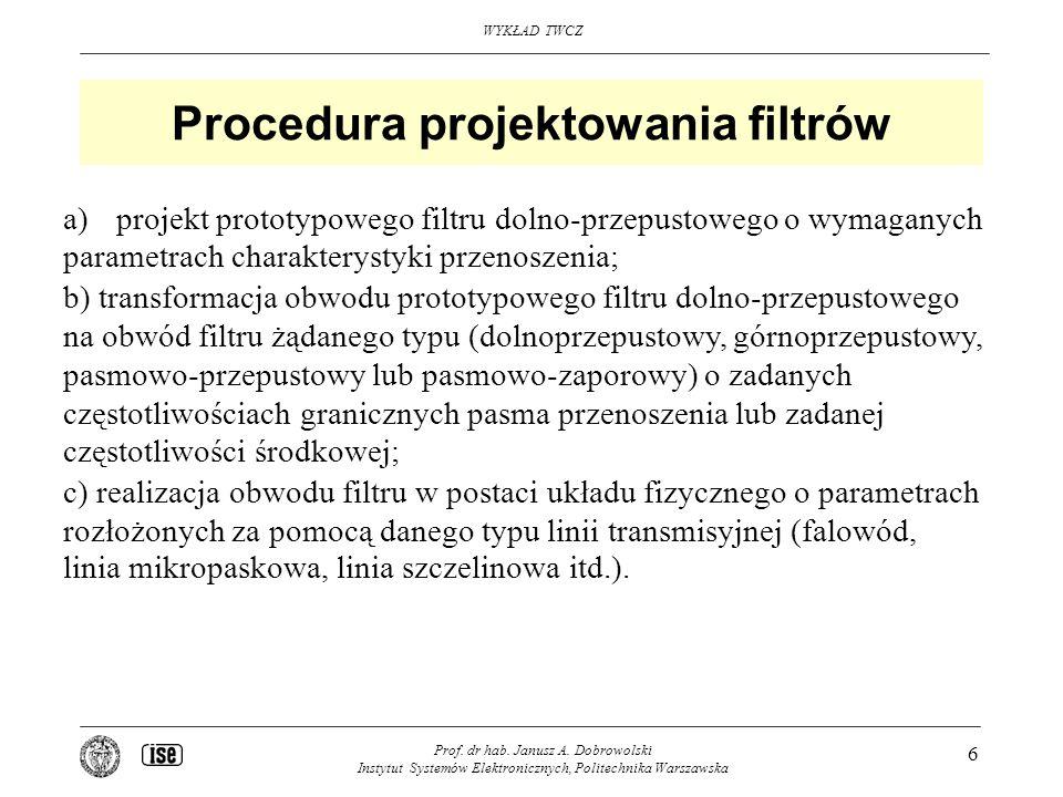 WYKŁAD TWCZ Prof. dr hab. Janusz A. Dobrowolski Instytut Systemów Elektronicznych, Politechnika Warszawska 6 Procedura projektowania filtrów a)projekt