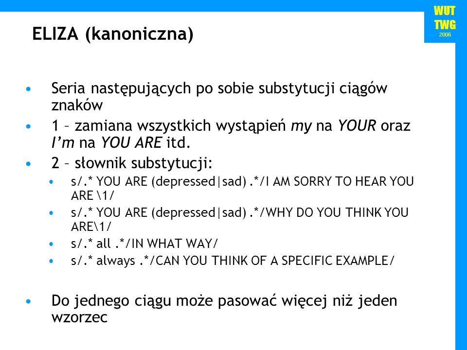 WUT TWG 2006 ELIZA (kanoniczna) Seria następujących po sobie substytucji ciągów znaków 1 – zamiana wszystkich wystąpień my na YOUR oraz Im na YOU ARE