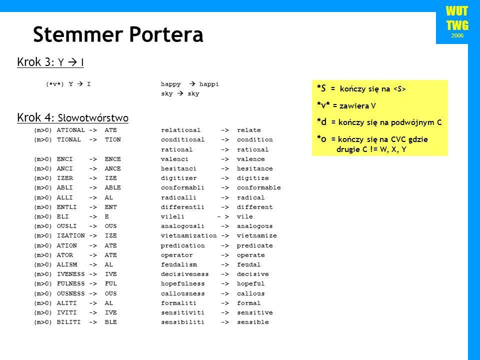 WUT TWG 2006 Stemmer Portera Krok 3 : Y I (*v*) Y I happy happi sky sky Krok 4 : Słowotwórstwo (m>0) ATIONAL -> ATE relational -> relate (m>0) TIONAL